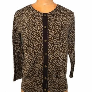 Michael Kors animal print 3/4 sleeve cardigan
